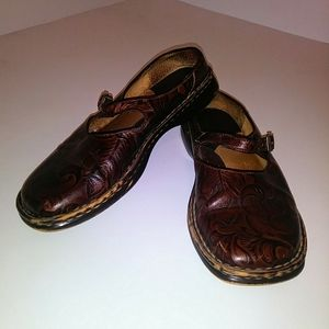 Born Hand Tooled Leather Mary Jane's Flats